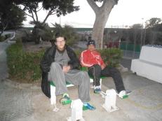 Javi y Antonio haciendo pedales