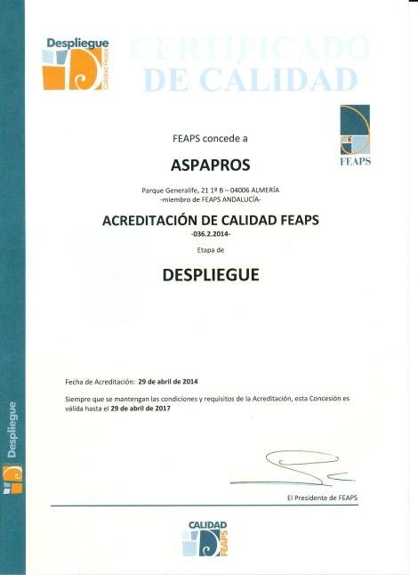 Certificado Calidad FEAPS 2014