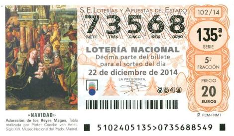 Décimo de  la lotería de Navidad 2014 de ASPAPROS